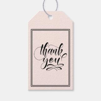 Étiquettes-cadeau Merci de calligraphie dans toute couleur