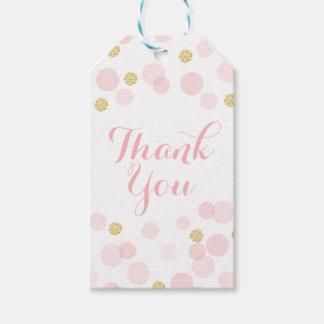 Étiquettes-cadeau Merci de confettis de scintillement de rose et