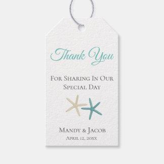 Étiquettes-cadeau Merci de faveur de mariage de plage de couples