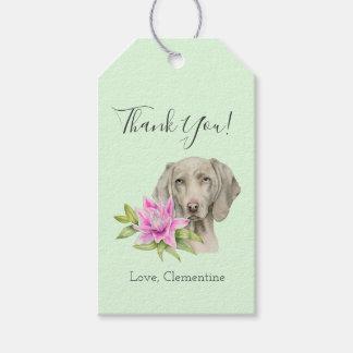 Étiquettes-cadeau Merci de l'aquarelle | de chien et de lis de
