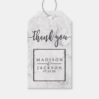 Étiquettes-cadeau Merci de marbre blanc et gris chic de mariage