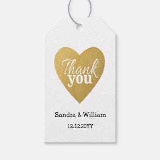 Étiquettes-cadeau Merci de mariage de coeur d'or de scintillement