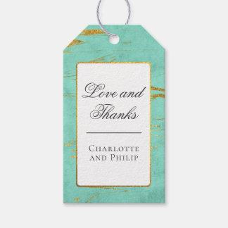 Étiquettes-cadeau Merci de motif de marbre de menthe et d'or