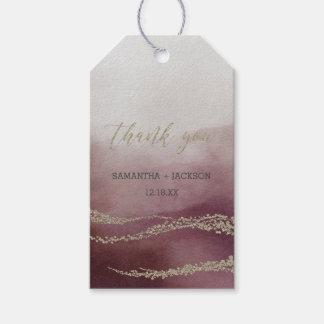 Étiquettes-cadeau Merci élégant de mariage de canneberge d'aquarelle