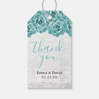 Étiquettes-cadeau Merci élégant floral succulent rustique de mariage