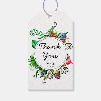 Étiquettes-cadeau Merci en feuille de palmier tropical audacieux de