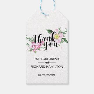 Étiquettes-cadeau Merci floral de faveur de mariage de roses roses