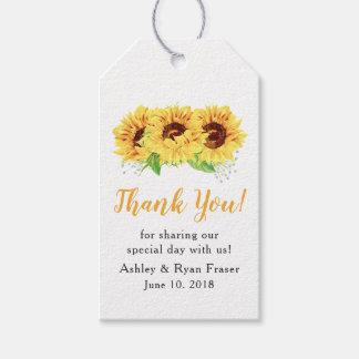 Étiquettes-cadeau Merci jaune de mariage d'aquarelle de tournesol