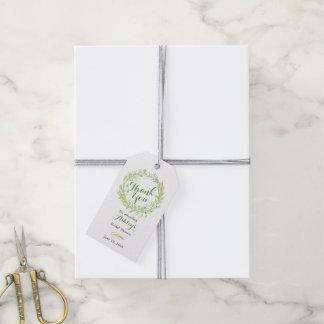 Étiquettes-cadeau Merci nuptiale de douche de guirlande florale de