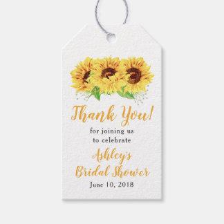 Étiquettes-cadeau Merci nuptiale de douche de tournesol jaune