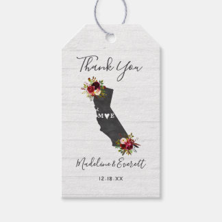 Étiquettes-cadeau Merci rustique floral de mariage d'état de la