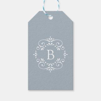 Étiquettes-cadeau Monogramme élégant de bleu et blanc français