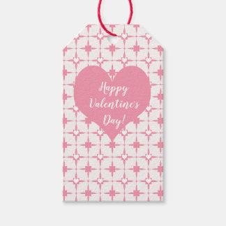 Étiquettes-cadeau Motif blanc de coeurs de rose du jour de
