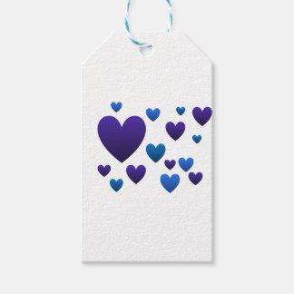 Étiquettes-cadeau Motif bleu de coeur