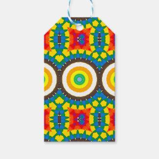 Étiquettes-cadeau Motif coloré de point de kaléidoscope