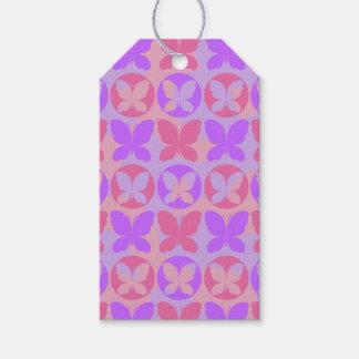 Étiquettes-cadeau Motif de papillon rose pourpre magenta de