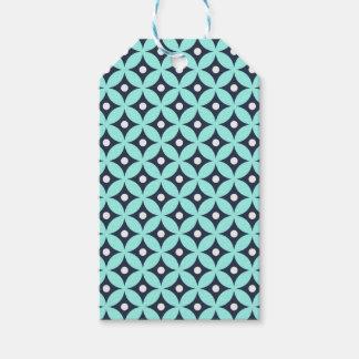 Étiquettes-cadeau Motif de pois bleu et blanc moderne de cercle