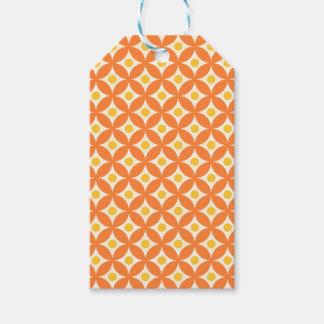 Étiquettes-cadeau Motif de pois orange et jaune moderne de cercle