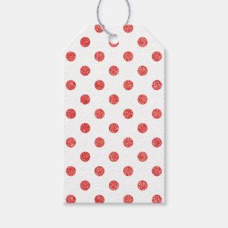 Étiquettes-cadeau Motif de pois rouge élégant de scintillement