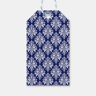 Étiquettes-cadeau Motif élégant de damassé de bleu marine et de