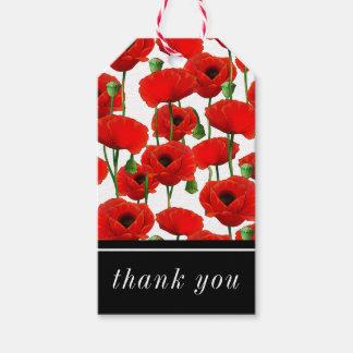 Étiquettes-cadeau Motif floral de pavots rouges