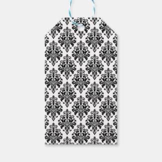 Étiquettes-cadeau Motif noir et blanc élégant de damassé