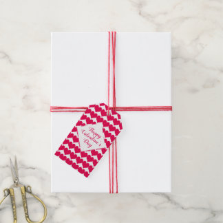 Étiquettes-cadeau Motif rouge personnalisé de coeurs de