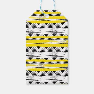 Étiquettes-cadeau Motif tribal de rayures jaunes blanches noires