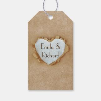 Étiquettes-cadeau Noce rustique de coeur de sac de papier de Brown