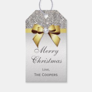 Étiquettes-cadeau Noël argenté d'arc de diamant d'or de paillettes