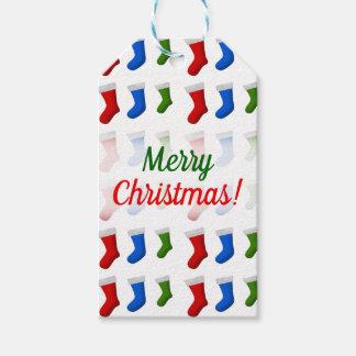 Étiquettes-cadeau Noël ; Bas rouges, bleus et verts de Noël