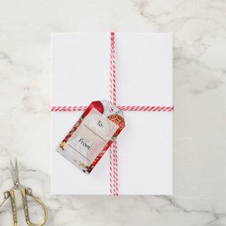 Étiquettes-cadeau Noël brillant a scintillé des ornements - rouge