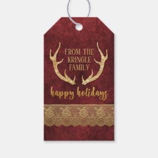 Étiquettes-cadeau Noël d'andouillers de cerfs communs de parties