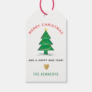 Étiquettes-cadeau Noël d'arbre de Noël Joyeux