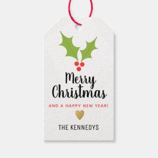 Étiquettes-cadeau Noël de baies de houx Joyeux