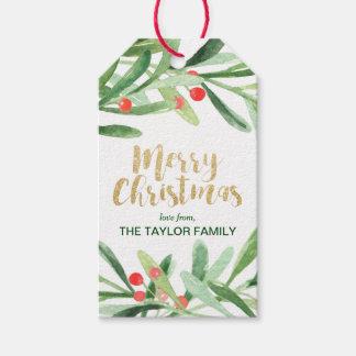 Étiquettes-cadeau Noël de guirlande de houx Joyeux