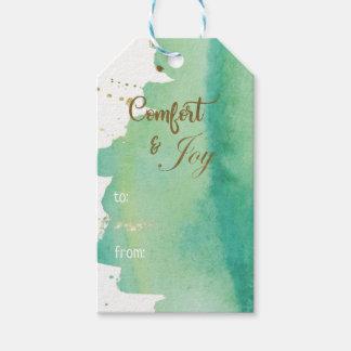 Étiquettes-cadeau Noël de photo d'or vert de joie de confort