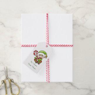 Étiquettes-cadeau Noël Elf avec du sucre de canne