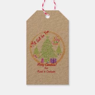 """Étiquettes-cadeau Noël """"joie biscuit à monde"""""""
