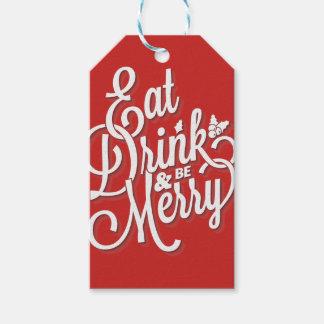 """Étiquettes-cadeau Noël """"mangent la boisson et soient joyeux """""""