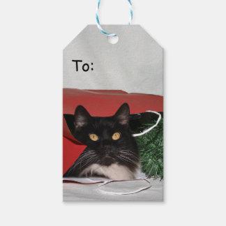 Étiquettes-cadeau Noël noir et blanc de chat