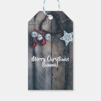 Étiquettes-cadeau Noël personnalisé d'ornement rustique
