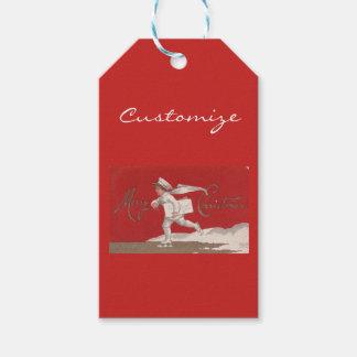 Étiquettes-cadeau Noël vintage de patinage de Thunder_Cove de garçon
