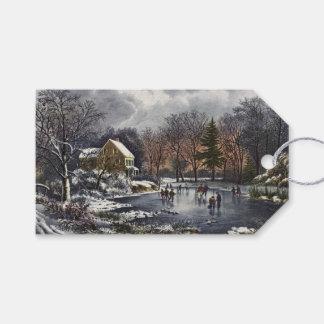 Étiquettes-cadeau Noël vintage, premiers patineurs d'hiver sur