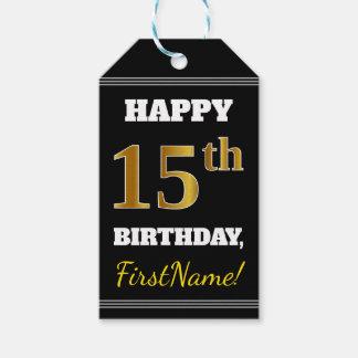 Étiquettes-cadeau Noir, anniversaire d'or de Faux 15ème + Nom fait