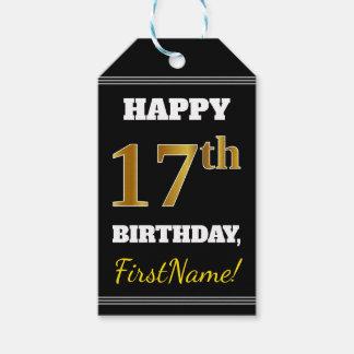 Étiquettes-cadeau Noir, anniversaire d'or de Faux 17ème + Nom fait