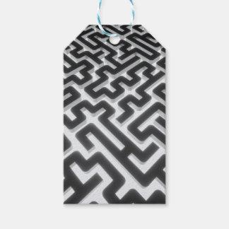 Étiquettes-cadeau Noir argenté de labyrinthe