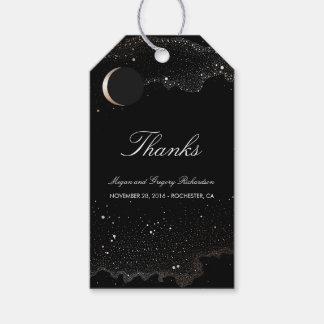 Étiquettes-cadeau Noir de croissant de lune de nuit étoilée et