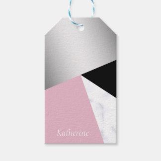 Étiquettes-cadeau Noir rose de marbre blanc argenté géométrique