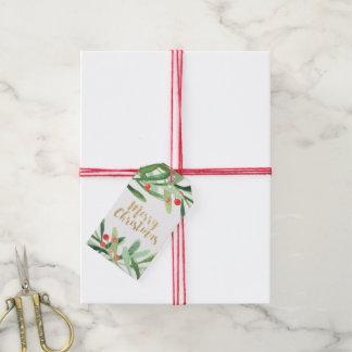 Étiquettes-cadeau Nom de Joyeux Noël de guirlande de houx